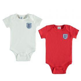 England Kit 2 Pk Bodysuits - White/Red
