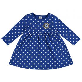 Chelsea Polka Dot Dress - White/Blue - Infant