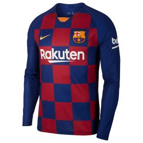Barcelona Home Stadium Shirt 2019-20 - Long Sleeve with Suárez 9 printing