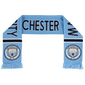 Manchester City 47 Text Scarf - Sky/White