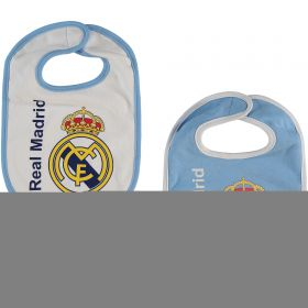 Real Madrid 2 Pack Crest Bibs - Blue/White - Baby