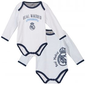 Real Madrid 2 Pack Crest Bodysuits - Blue/White - Baby
