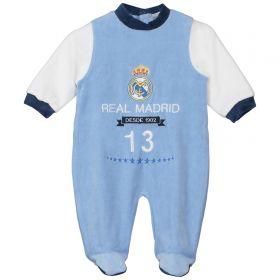 Real Madrid Crest Sleepsuit - Sky - Baby