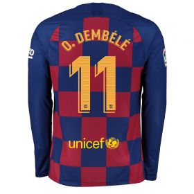 Barcelona Home Stadium Shirt 2019-20 - Long Sleeve with O. Dembélé 11 printing