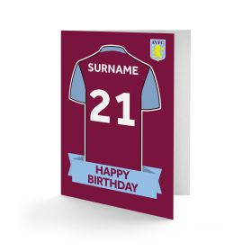 Aston Villa Personalised Shirt Birthday Card