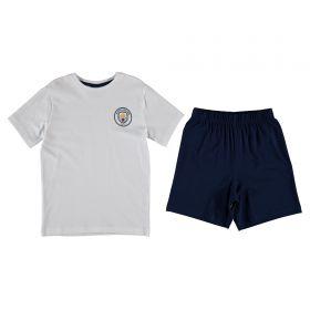 Manchester City T-Shirt and Shorts Kit Pyjama Set - White/Navy - Boys