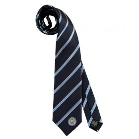 Manchester City Stripe Tie - Navy/Sky - Silk