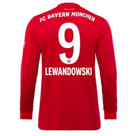 Bayern Munich Home Long Sleeve Shirt 2019-19 with Lewandowski 9 printing