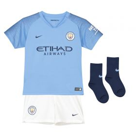 Manchester City Home Stadium Kit 2018-19 - Little Kids with Champions 19 printing