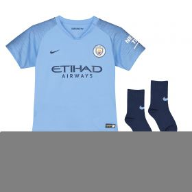 Manchester City Home Stadium Kit 2018-19 - Little Kids with Houghton 6 printing