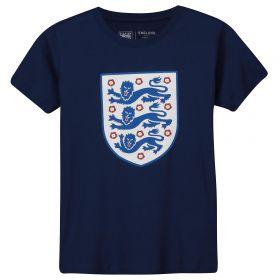 England Large Printed Crest T-Shirt - Navy - Kids