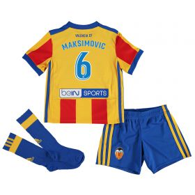 Valencia CF Away Minikit 2017-18 with Maksimovic 6 printing