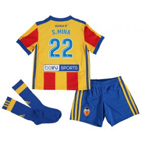 Valencia CF Away Minikit 2017-18 with S. Mina 22 printing