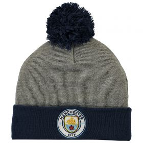 Manchester City Contrast Pom and Cuff Knit - Grey Marl - Adult