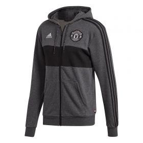 Manchester United Full Zip Hoodie - Grey Marl