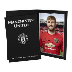 Manchester United Personalised Signature Photo in Presentation Folder - Shaw