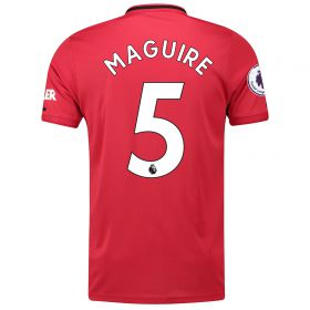 Manchester United Pre-Printed Home Shirt 2019 - 20 with Maguire 5 & Premier League Player Badge