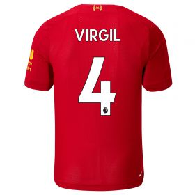 Liverpool Home Shirt 2019-20 - Kids with Virgil 4 printing
