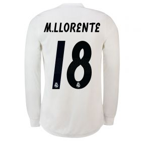 Real Madrid Home Adi Zero Shirt 2018-19 - Long Sleeve with M. Llorente 18 printing