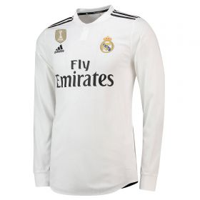 Real Madrid Home Authentic Shirt 2018-19 - Long Sleeve with Valverde 15 printing