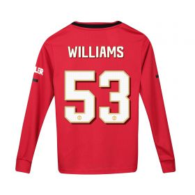 Manchester United Cup Home Shirt 2019 - 20 - Kids - Long Sleeve with Williams 53 printing