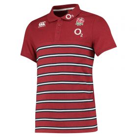 England Cotton Jersey Stripe Polo - Red