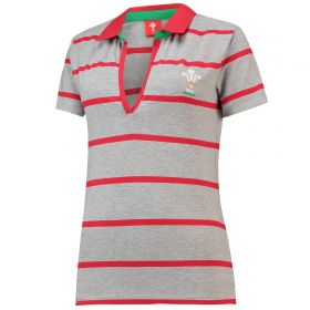 Welsh Rugby Classic Hooped V Neck SS Rugby Jersey - Grey - Womens