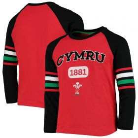 Welsh Rugby Contrast Long Sleeve T-Shirt - Red - Kids