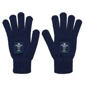 Welsh Rugby Knitted Gloves - Navy - Junior