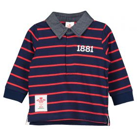 Welsh Rugby L/S Stripe Polo - Navy/Red
