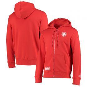 Welsh Rugby Modern Heritage Full Zip Hoodie - Red - Mens