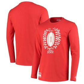 Welsh Rugby Modern Heritage Long Sleeve T-Shirt - Red - Mens