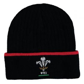 Welsh Rugby Tipped Cuff Beanie - Black - Adult