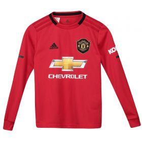 Manchester United Home Shirt 2019 - 20 - Kids - Long Sleeve with B.Fernandes 18 printing