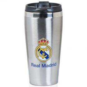 Real Madrid Crest Travel Mug - Silver