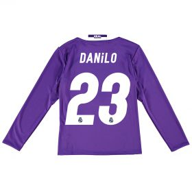 Real Madrid Away Jersey 2016/17 - Kids - Long sleeve - with Danilo 23 printing