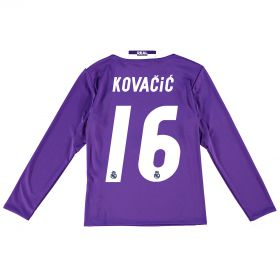 Real Madrid Away Jersey 2016/17 - Kids - Long sleeve - with Kovacic 16 printing