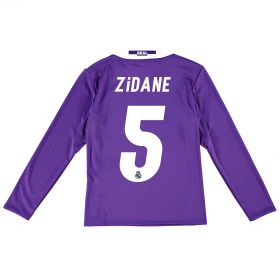 Real Madrid Away Jersey 2016/17 - Kids - Long sleeve - with Zidane 5 printing
