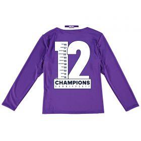 Real Madrid Away Shirt 2016-17 - Kids - Long Sleeve with Champions 12 printing