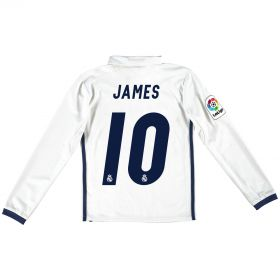 Real Madrid Home Jersey 2016/17 - Kids - Long sleeve - with James 10 printing