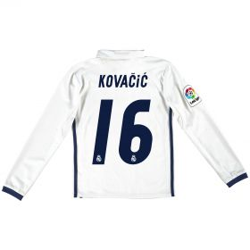 Real Madrid Home Jersey 2016/17 - Kids - Long sleeve - with Kovacic 16 printing