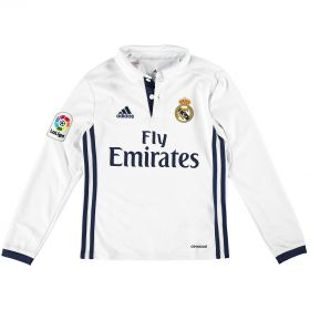 Real Madrid Home Shirt 2016-17 - Kids - Long Sleeve with Champions 12 printing