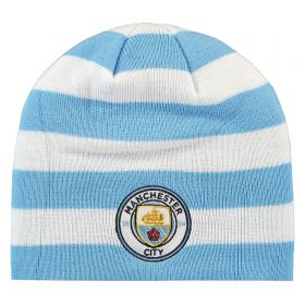 Manchester City Stripe Skull Knit - Sky Blue/White - Adult