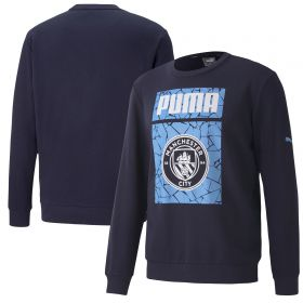 Manchester City ftblCore Graphic Sweat Top - Navy
