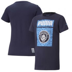 Manchester City ftblCore Graphic T-Shirt - Navy - Kids