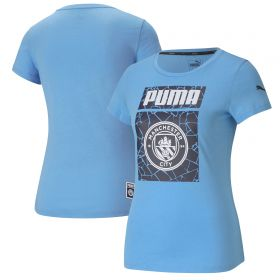 Manchester City ftblCore Graphic T-Shirt - Sky Blue - Womens