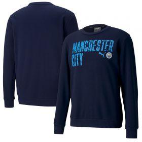 Manchester City ftblCore Wording Sweat Top - Navy