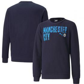 Manchester City ftblCore Wording Sweat Top - Navy - Kids