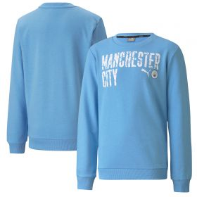 Manchester City ftblCore Wording Sweat Top - Sky Blue - Kids