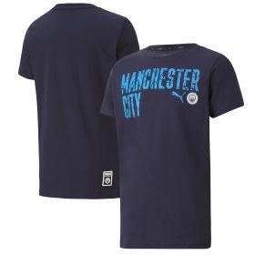 Manchester City ftblCore Wording T-Shirt - Navy - Kids